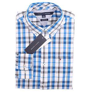 Tommy Hilfiger Men Long Sleeve Custom Fit Button Down Plaid Shirt $0 Free Ship
