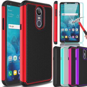 For-LG-Stylo-4-Shockproof-Hybrid-Hard-Armor-Phone-Case-Glass-Screen-Protector