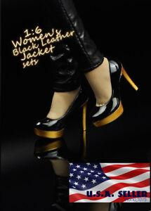 "1//6 High Heel Shoes BLACK For 12/"" TBLeague PHICEN Hot Toys Female Figure USA"