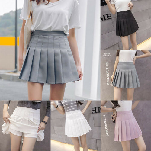 Women High Waist Pleated Zip Tennis Mini Skirts Skater Casual Dress Safety Pants