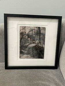 Contemporary Chalk / Pastel Signed Drawing Abstract Landscape w/ Tree & Path