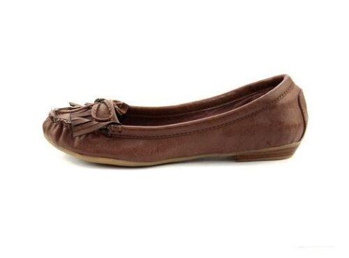 Ladies Girls Brown Leather Look Tassel Loafer Pumps Flat Casual Moccasins UK 2-6