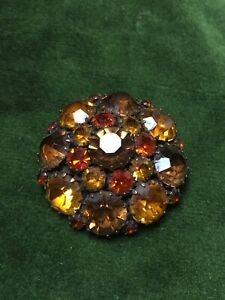 1950s-Style-Brooch-Amber-amp-Orange-Glass-Cabochons-Vintage-Pin