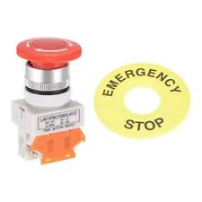 New Listing22mm Latching Emergency Stop Push Button Switch With Emergency Stop Sign 1nc