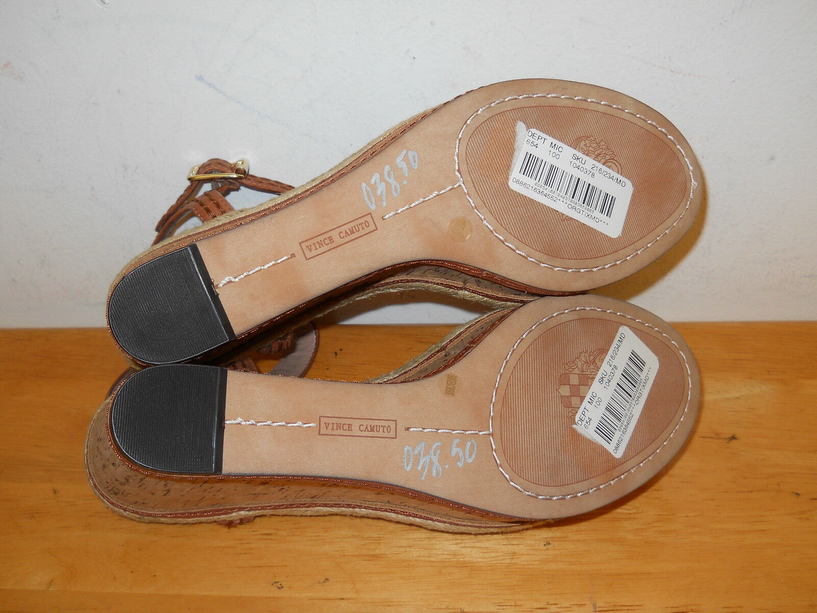 Vince Camuto New Donna Sebba Brown Leather Wedge NWOB Sandals 9.5 M Shoes NWOB Wedge 5493f8
