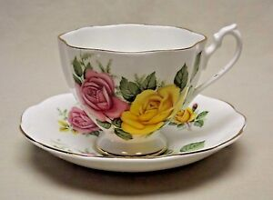 Details about Queen Anne Fine Bone China England Yellow and Pink Roses Tea  Cup and Saucer
