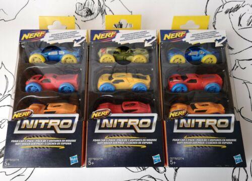 Nuovo di Zecca * X3 Nerf NITRO SCHIUMA AUTO 3-Pack 9 Auto-Hasbro