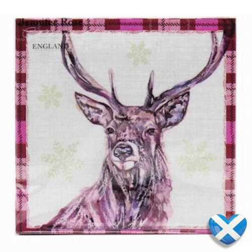 Winter Stag Paper Napkins x 20 Scottish NORDIC Snowflake Party Tartan BNIP UK