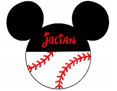 DISNEY MICKEY MOUSE BASEBALL PERSONALIZED T-SHIRT IRON ON TRANSFER