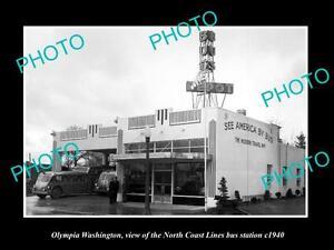 OLD-LARGE-HISTORIC-PHOTO-OF-OLYMPIA-WASHINGTON-NORTH-COAST-BUS-DEPOT-c1940