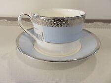 Wedgwood Grosgrain Vera Wang Flat Cup /& Saucer Platinum Trim Rings Dots White