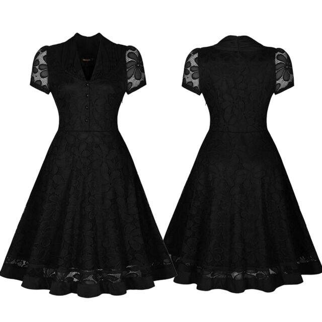 Sexy Women Black Lace Vintage Cocktail Evening Party Swing Rockabilly Prom Dress