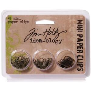 Idea-Ology-Mini-Paper-Clips-Antique-Nickel-Brass-Copper-48-Pkg-by-Tim-Holtz
