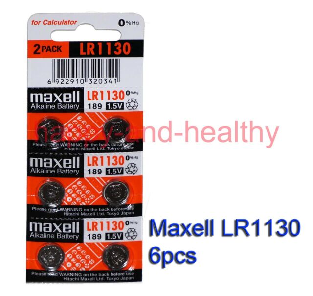 Maxell  LR1130 (AG10 189) Alkaline watch Battery x 6 pcs New 0% Hg FREE shipping