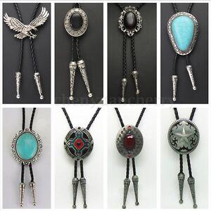 Western-Cowboy-Alloy-Opal-Pendant-Leather-Bolo-Bola-Tie-Necktie-Rodeo-Necklace