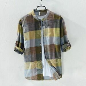 Men-039-s-Summer-Linen-Cotton-Casual-Blouse-Long-Sleeve-Mandarin-Collar-Plaid-Shirt