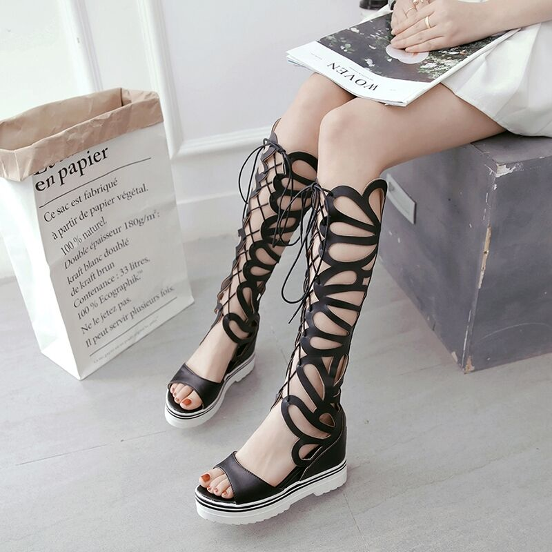 Roma Zip Platform Gladiator Sandals Women Hollow Out Out Out Wedge Lace Up Summer shoes 9c24a0
