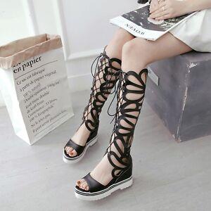 0437ea1570e Roman Zip Platform Gladiator Sandals Women Hollow Out Wedge Lace Up ...