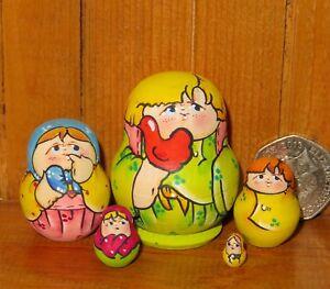 Miniature-Matryoshka-LATISHEVA-Babushka-TINY-5-family-BOY-Nesting-Russian-Dolls