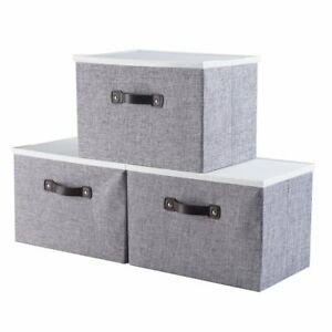 Foldable-Fabric-Cube-Storage-Box-Bin-Basket-Containers-Organizer-W-Lid-Handle