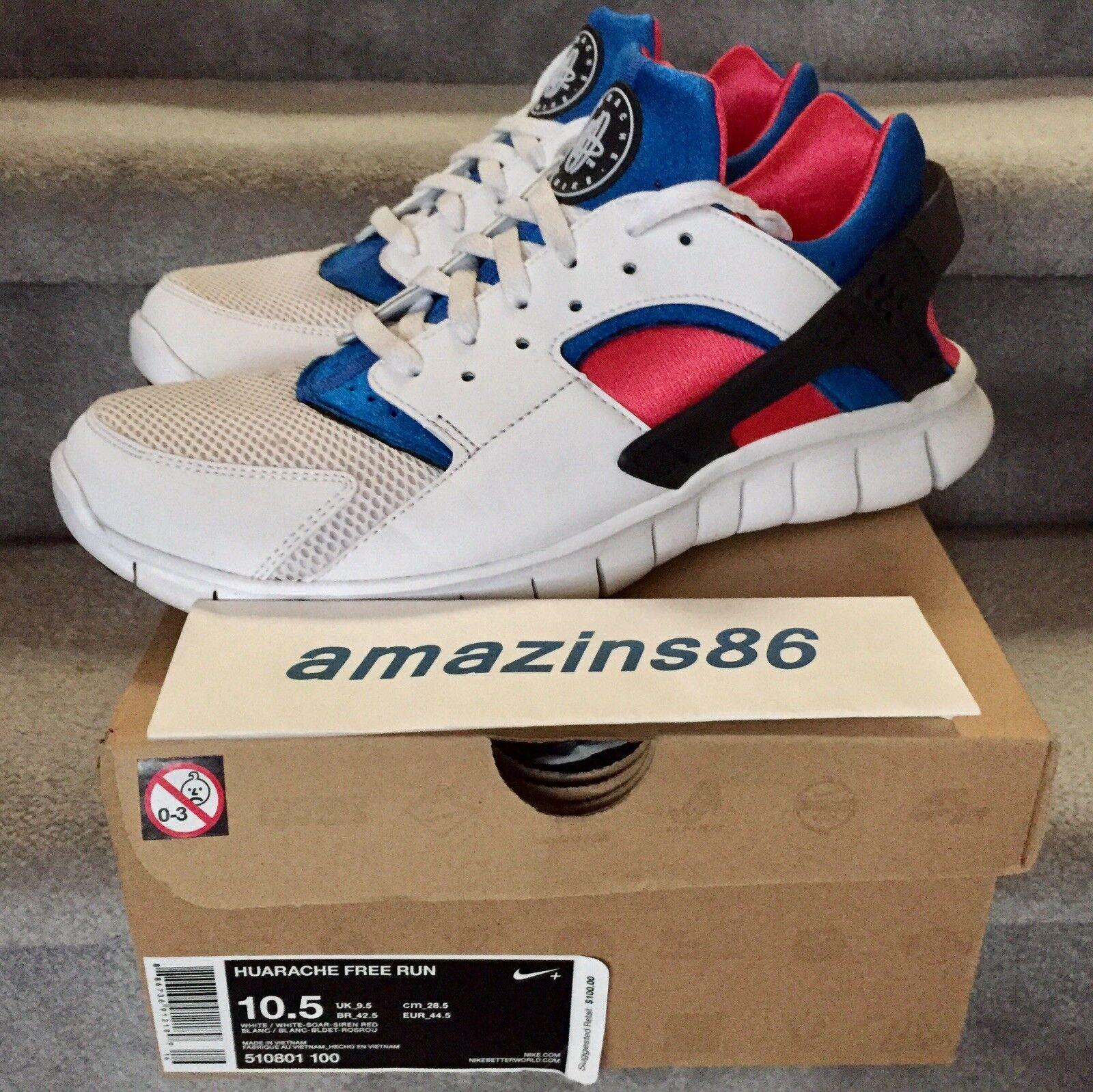 Nike HUARACHE FREE RUN White Soar Siren Red Size 10.5 PRE-OWNED with Orig. Box