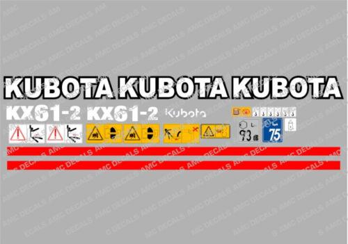 Kubota Kx61-2 Ensemble Complet Autocollant Mini Pelle