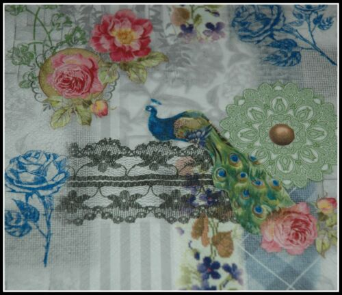 1 x Bird Peacock Lace Paper Napkin Collage Scrapbooking Decoupage Card Crafts