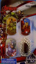 NEW MARVEL AVENGERS DOG TAGS Hulk Iron Man Capt. America Chain MARVEL KIDS