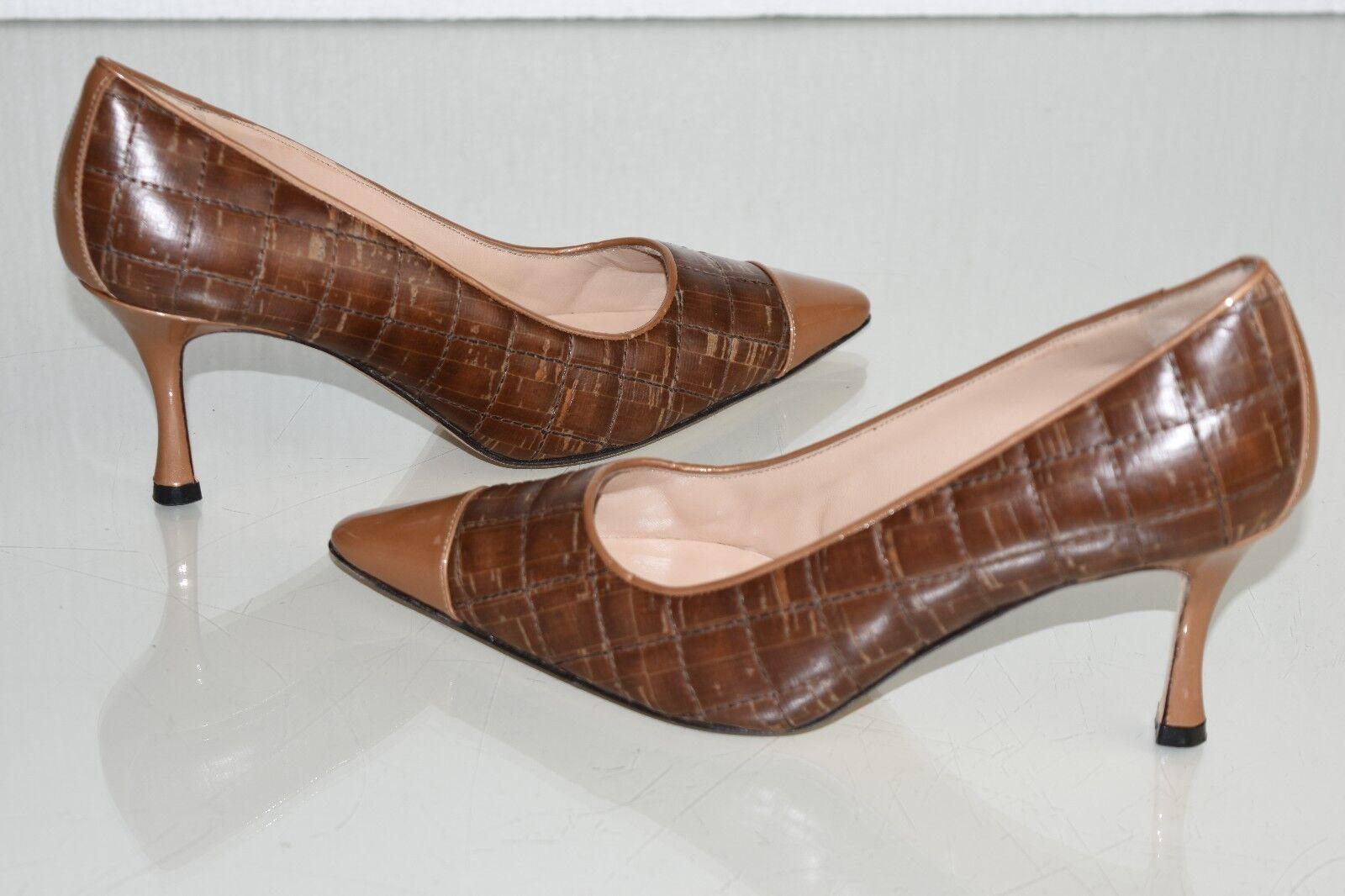 miglior prezzo NEW MANOLO MANOLO MANOLO BLAHNIK BB 70 PUMPS CAP TOE QUILTED LEATHER Marrone PATENT scarpe 37  edizione limitata
