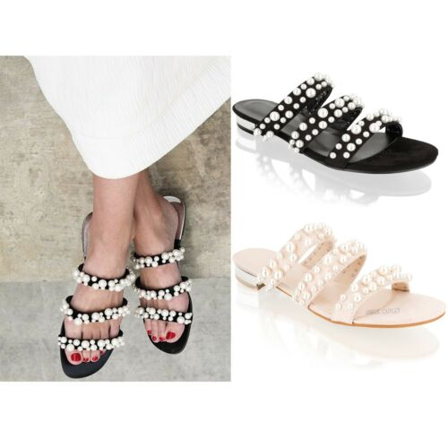 Womens Ladies Sliders Slip On Pearl Block Heel Summer Mules Flip Flop Sandals