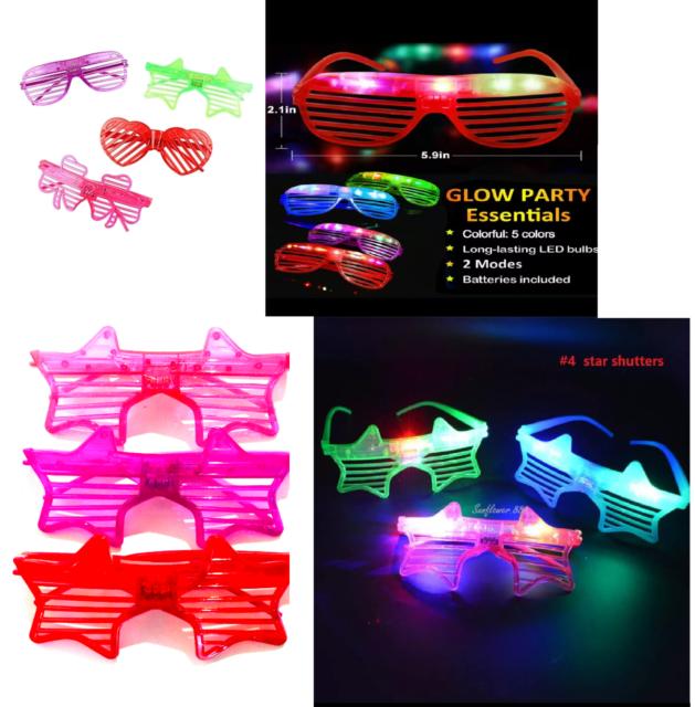 Flashing LED Light Up Slotted Shutter Shades Sunglasses