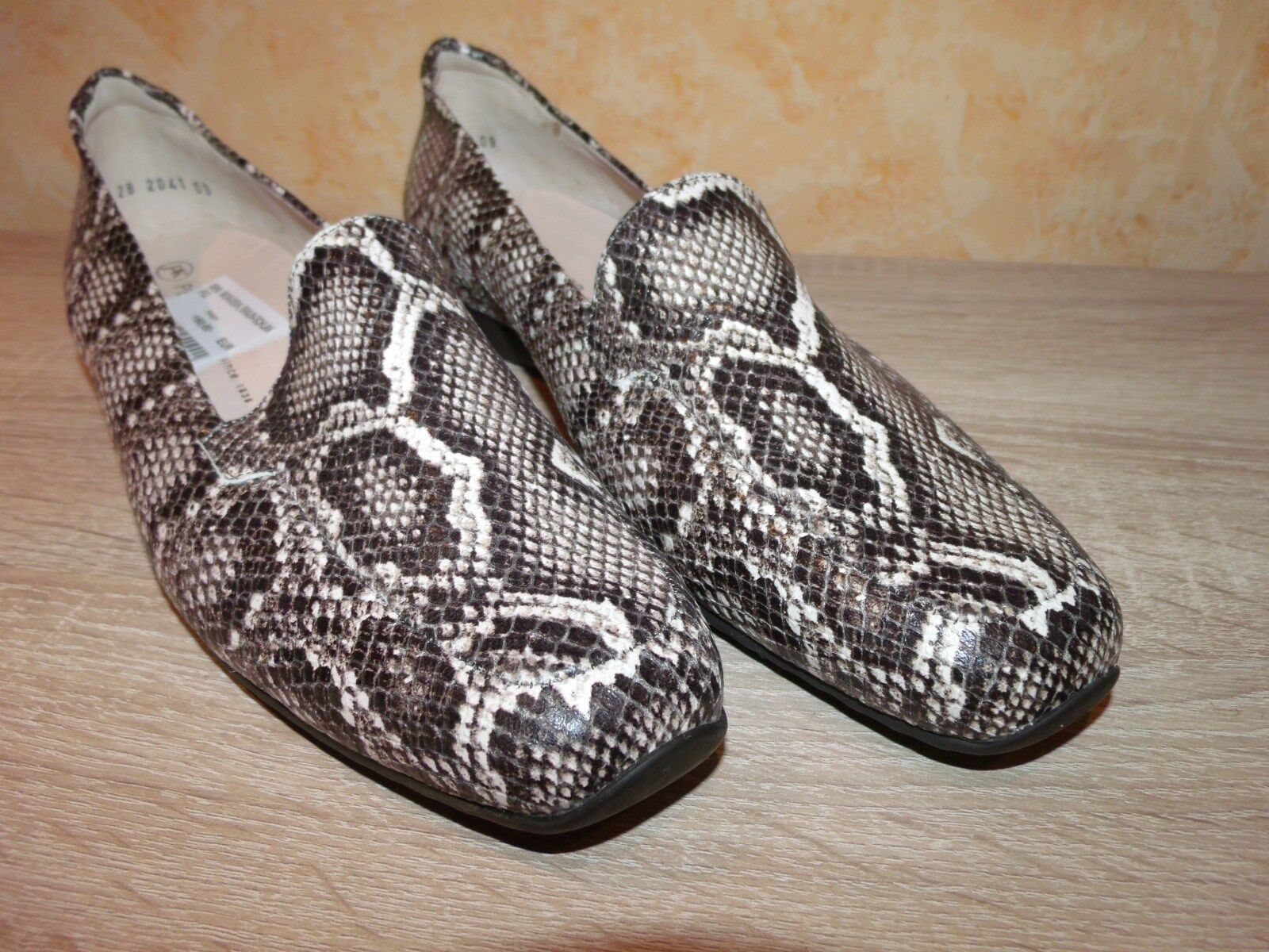 Peter Marrone Kaiser mokkassin Slipper Nuovo Taglia 9 43 In Marrone Peter & Pelle nel schlangenprint 514e61