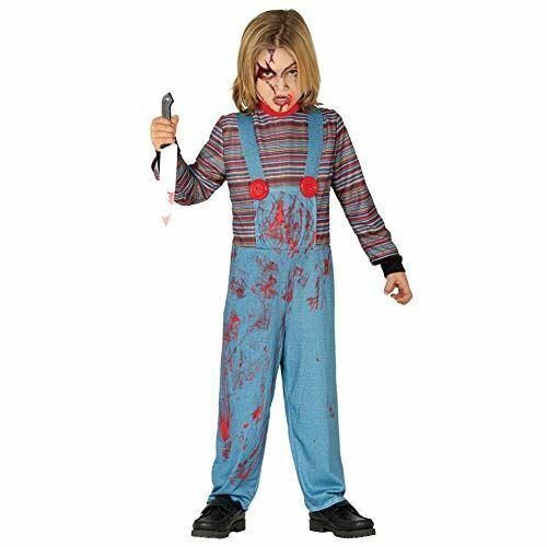 Child Killer Doll Chucky Style Halloween Fancy Dress Costume 3-4 yrs