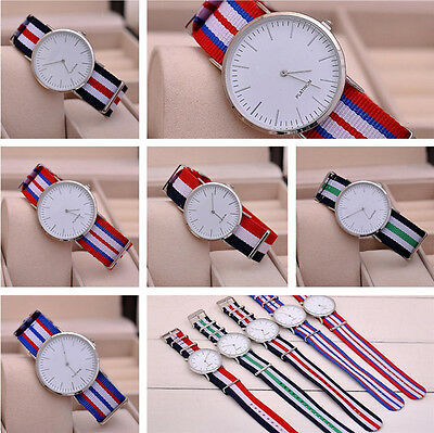 Fashion Men Fabric Strap Stripe Watch Simple Multicolor Geneva Watches Sport Hot