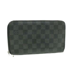 LOUIS-VUITTON-Damier-Graphite-Zippy-Organizer-Wallet-N63077-LV-Auth-yk458