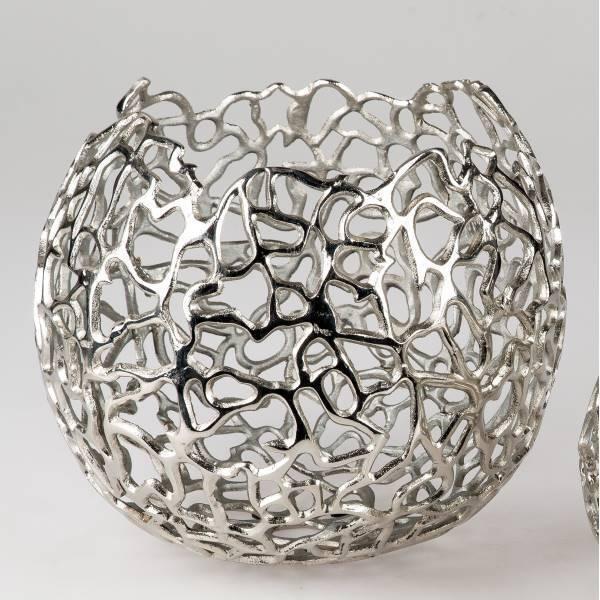 Viento luz, teelichthalter quedarme coral D. 30cm aluminio plateada navideña