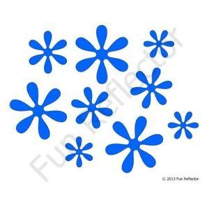 Fleurs Bleu Vélo Réfléchissant Autocollants Decals-afficher Le Titre D'origine