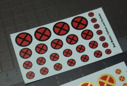 OPAQUE Scale Custom Waterslide Decals X-Men Logos RED and BLACK