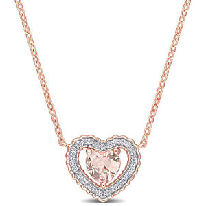 Amour-Pink-Silver-CZ-amp-Created-Morganite-Heart-Necklace