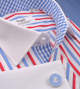 Red-White-Blue-Formal-Business-Dress-Shirt-French-Cuff-American-USA-France-Color