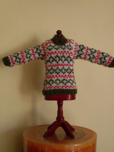 Miniature Jumper XMAS GREEN Fair Isle