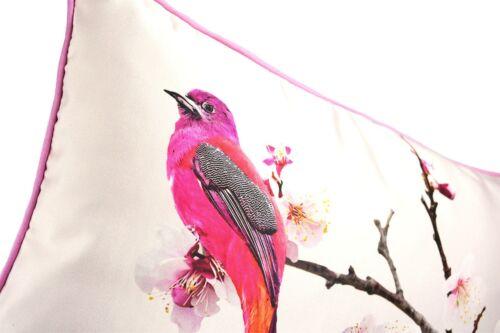 Satin Cushion Pillow Soft Case Cover Blush Birds Floral Pink Cherry Blossom 45cm
