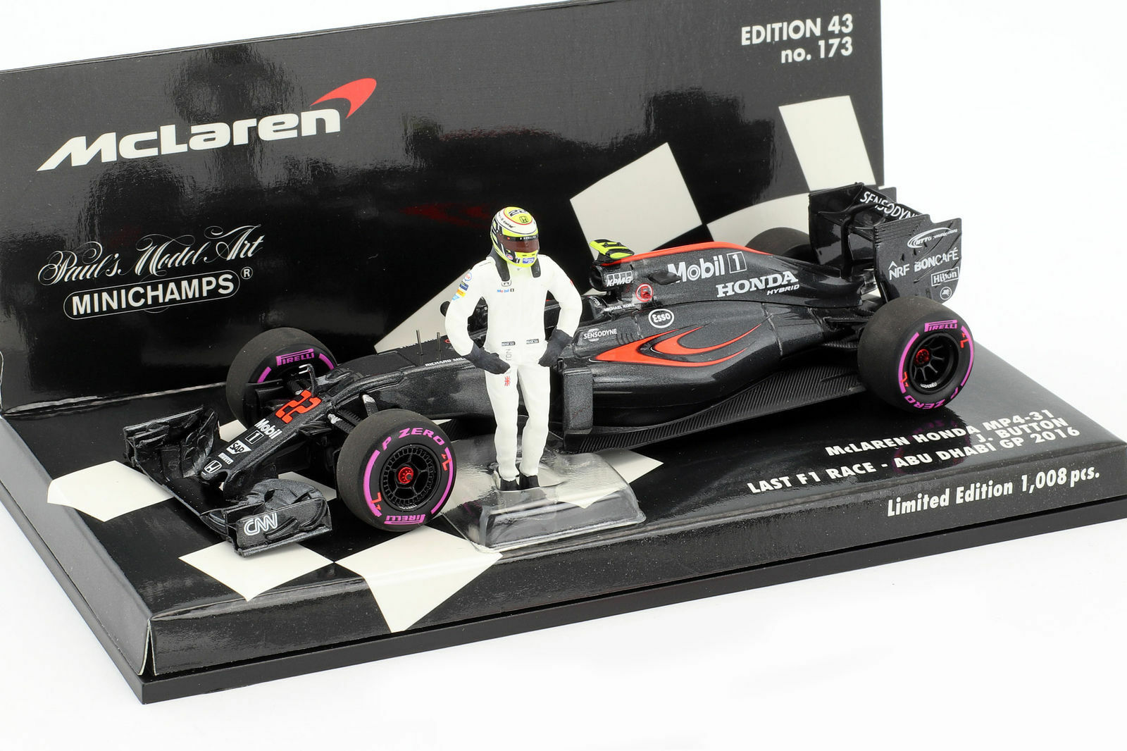 MINICHAMPS 530164022 143 McLaren MP4-31 Jenson Button Final GP Abu Dhabi 2016