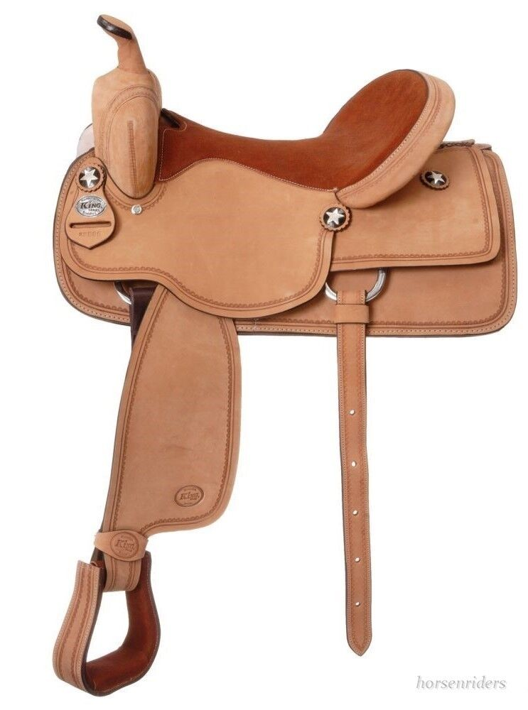 15.5  Inch - Western Competition Saddle - Roughout Leather - King Series  high-quality merchandise and convenient, honest service