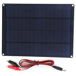 Panel Solar 12V Cargador De Batería Solar Portátil Con Clip...