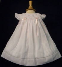 Will'beth Baby Girls White Pink Angel Sleeve Bishop Dress Ribbons 18m NWT