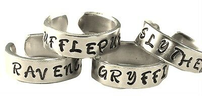 Set of Hand Stamped Aluminum Rings Script Font Holmes and Watson Sherlock Holmes Inspired