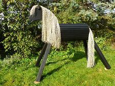 100cm Holzpferd Holzpony Voltigierpferd Spielpferd Pferd Pony schwarz mit Maul