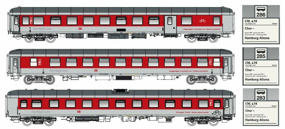 LS models H0 49057 3 Piezas Set CNL ep.vi DBAG LOGO KOMET II SET B DC