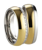 Trauringe Verlobungsringe Eheringe aus Edelstahl mit Zirkonia Ringe Gravur  3139